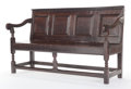 Furniture , AN ENGLISH OAK FOUR-PANEL SETTLE. 17th century. 34-1/2 inches x 56 inches x 22 inches (87.6 x 142.2 x 55.9 cm). The Elton ...
