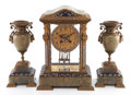 Decorative Arts, French:Other , A THREE PIECE FRENCH GILT BRONZE, ONYX AND ENAMELED CLOCK GARNITURERETAILED BY TIFFANY & CO. . Circa 1900. Marks to mechani...(Total: 3 Items)