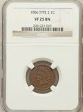 Indian Cents: , 1886 1C Type Two VF25 NGC. NGC Census: (3/220). PCGS Population(5/209). Numismedia Wsl. Price for problem free NGC/PCGS c...