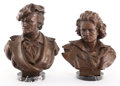 Sculpture, TWO PATINATED BRONZE BUSTS: WAGNER AND BEETHOVEN. Circa 1920. Marks to Beethoven: L. Allegre, J. Kalma (remainin... (Total: 2 Items)