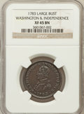 1783 1C Washington & Independence Cent, Large Military Bust XF45 NGC. NGC Census: (13/44). PCGS Population (42/96)...