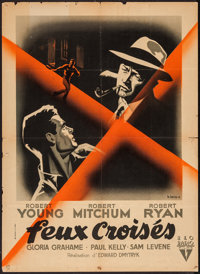 "Crossfire (RKO, 1947). French Affiche (23"" X 31.5""). Film Noir"