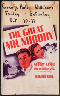 """The Great Mr. Nobody (Warner Brothers, 1941). Window Card (14"""" X 22""""). Comedy"""
