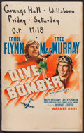 "Movie Posters:Action, Dive Bomber (Warner Brothers, 1941). Window Card (14"" X 22"").Action.. ..."