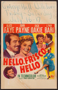 "Movie Posters:Musical, Hello, Frisco, Hello (20th Century Fox, 1943). Window Card (14"" X 22""). Musical.. ..."
