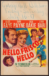 "Hello, Frisco, Hello (20th Century Fox, 1943). Window Card (14"" X 22""). Musical"