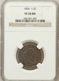 1804 1/2 C Plain 4, No Stems VF20 NGC. NGC Census: (25/797). PCGS Population (33/677). Mintage: 1,055,312. Numismedia Ws...