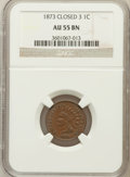 Indian Cents: , 1873 1C Closed 3 AU55 NGC. NGC Census: (46/212). PCGS Population(16/56). Numismedia Wsl. Price for problem free NGC/PCGS ...