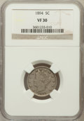 Liberty Nickels: , 1894 5C VF30 NGC. NGC Census: (4/278). PCGS Population (12/443).Mintage: 5,413,132. Numismedia Wsl. Price for problem free...