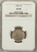 Liberty Nickels: , 1908 5C AU58 NGC. NGC Census: (30/451). PCGS Population (48/541).Mintage: 22,686,176. Numismedia Wsl. Price for problem fr...