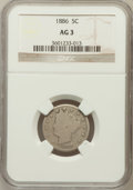 Liberty Nickels: , 1886 5C AG3 NGC. NGC Census: (0/473). PCGS Population (80/816).Mintage: 3,330,290. (#3847)...