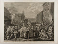"""Books:Prints & Leaves, William Hogarth. Engraved Print Entitled, """"A Representation of theMarch of the Guards towards Scotland, in the Year 1745"""". ..."""