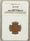 Indian Cents: , 1886 1C Type Two AU53 NGC. NGC Census: (9/174). PCGS Population(6/107). Numismedia Wsl. Price for problem free NGC/PCGS c...