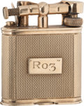 Movie/TV Memorabilia:Awards, A Rosalind Russell Fancy 9K Gold Dunhill Cigarette Lighter, Circa1950s....