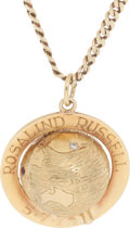 Movie/TV Memorabilia:Awards, A Rosalind Russell 14K Gold Pendant and Fob, 1975....