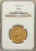 Liberty Eagles: , 1846-O $10 XF45 NGC. NGC Census: (42/55). PCGS Population (9/13).Mintage: 81,780. Numismedia Wsl. Price for problem free N...