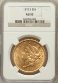 Liberty Double Eagles: , 1875-S $20 AU55 NGC. NGC Census: (414/2431). PCGS Population(349/1035). Mintage: 1,230,000. Numismedia Wsl. Price for prob...
