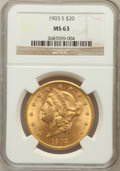 Liberty Double Eagles: , 1903-S $20 MS63 NGC. NGC Census: (1326/277). PCGS Population(1374/366). Mintage: 954,000. Numismedia Wsl. Price for proble...