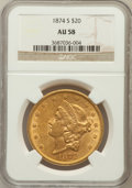 Liberty Double Eagles: , 1874-S $20 AU58 NGC. NGC Census: (1195/591). PCGS Population(288/404). Mintage: 1,214,000. Numismedia Wsl. Price for probl...