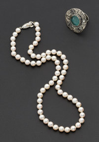 Cultured Pearl Necklace & Sterling Silver Ring