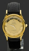 Timepieces:Wristwatch, Omega Vintage 18k Gold Constellation, Pie Pan Dial. ...