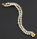 Estate Jewelry:Pearls, Cultured Double Strand & Gold Bracelet. ...