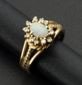 Estate Jewelry:Rings, Estate Opal & Diamond Gold Ring. ...