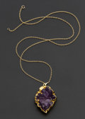 Estate Jewelry:Pendants and Lockets, Amethyst Set In Vermeil And 14k Gold Chain. ...