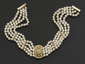 Estate Jewelry:Pearls, Striking Diamond & Gold Pearl Choker. ...