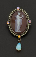 Estate Jewelry:Brooches - Pins, Pearl & Opal Hardstone Silver Brooch. ...