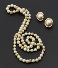 Estate Jewelry:Pearls, Pearl & Gold Necklace & Mobe Earrings. ... (Total: 2 Items)