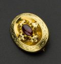 Estate Jewelry:Brooches - Pins, Victorian 18k Gold & Garnet Memorial Brooch. ...