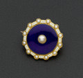 Estate Jewelry:Brooches - Pins, Early Pearl & Enamel gold Brooch. ...