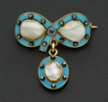 Estate Jewelry:Brooches - Pins, Early Diamond & Pearl Enamel Brooch. ...