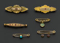 Estate Jewelry:Brooches - Pins, Lot Of Six Victorian Gold Brooches. ... (Total: 6 Items)