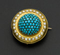 Estate Jewelry:Brooches - Pins, Victorian Turquoise & Pearl Gold Brooch. ...