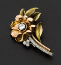 Estate Jewelry:Brooches - Pins, Fine Diamond & Pink & Green Gold Brooch. ...