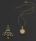 Estate Jewelry:Other , Pearl & Diamond Necklace & Multi-Color Gemstone Pendant.... (Total: 2 Items)