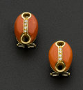 Estate Jewelry:Earrings, Coral & Diamond 18k Gold Earrings. ...