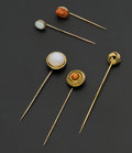 Estate Jewelry:Stick Pins and Hat Pins, A Lot Of Five Early Stick Pins. ... (Total: 5 Items)