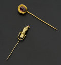 Estate Jewelry:Stick Pins and Hat Pins, Gold Falcon & Garnet Horse Shoe Stick Pins. ... (Total: 2 Items)