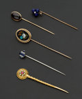 Estate Jewelry:Stick Pins and Hat Pins, A Lot Of Five Gold Stick Pins. ... (Total: 5 Items)