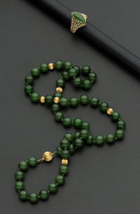 Jade & Gold Necklace & Ring