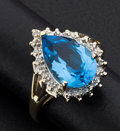 Estate Jewelry:Rings, Blue Topaz And Gold Ring. ...