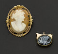 Estate Jewelry:Other , Enamel Dragon Pendant & Gold Shell Cameo. ... (Total: 2 Items)