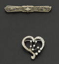Estate Jewelry:Brooches - Pins, Diamond & Gold Bar Pin & Diamond Heart Brooch/Pendant. ... (Total: 2 Items)