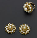 Estate Jewelry:Pearls, Set Of Pearl & Gold Earrings & Ring. ... (Total: 5 Items)