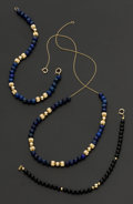 Estate Jewelry:Coin Jewelry and Suites, Lapis Gold Bead Bracelet & Necklace Plus Black Onyx Bracelet.... (Total: 3 Items)