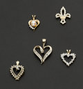 Estate Jewelry:Pendants and Lockets, Five Gold & Diamond Pendants. ... (Total: 5 Items)