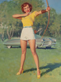 Pin-up and Glamour Art, WILLIAM MEDCALF (American, 20th Century). Bow and Arrow. Oilon masonite. 40 x 30 in.. Signed lower right. ...